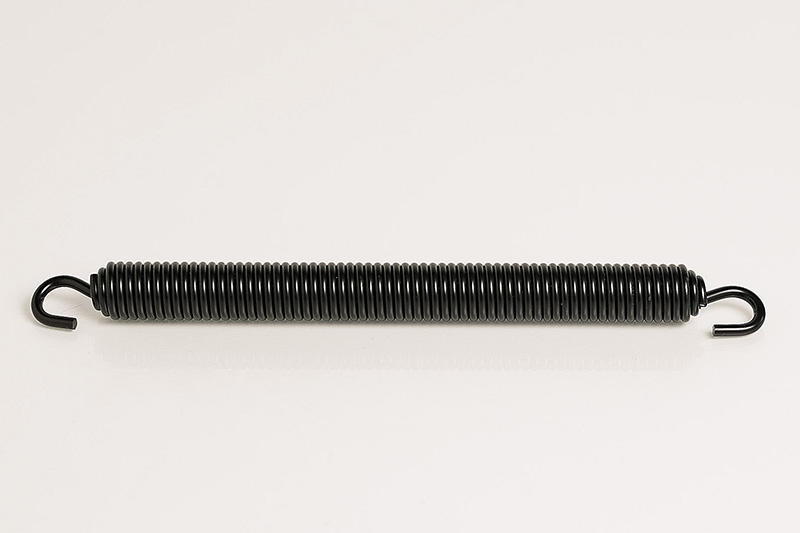 cardinal components manufactured this heavy duty gage spring with free floating hooks assembled at each end that was black powder coated